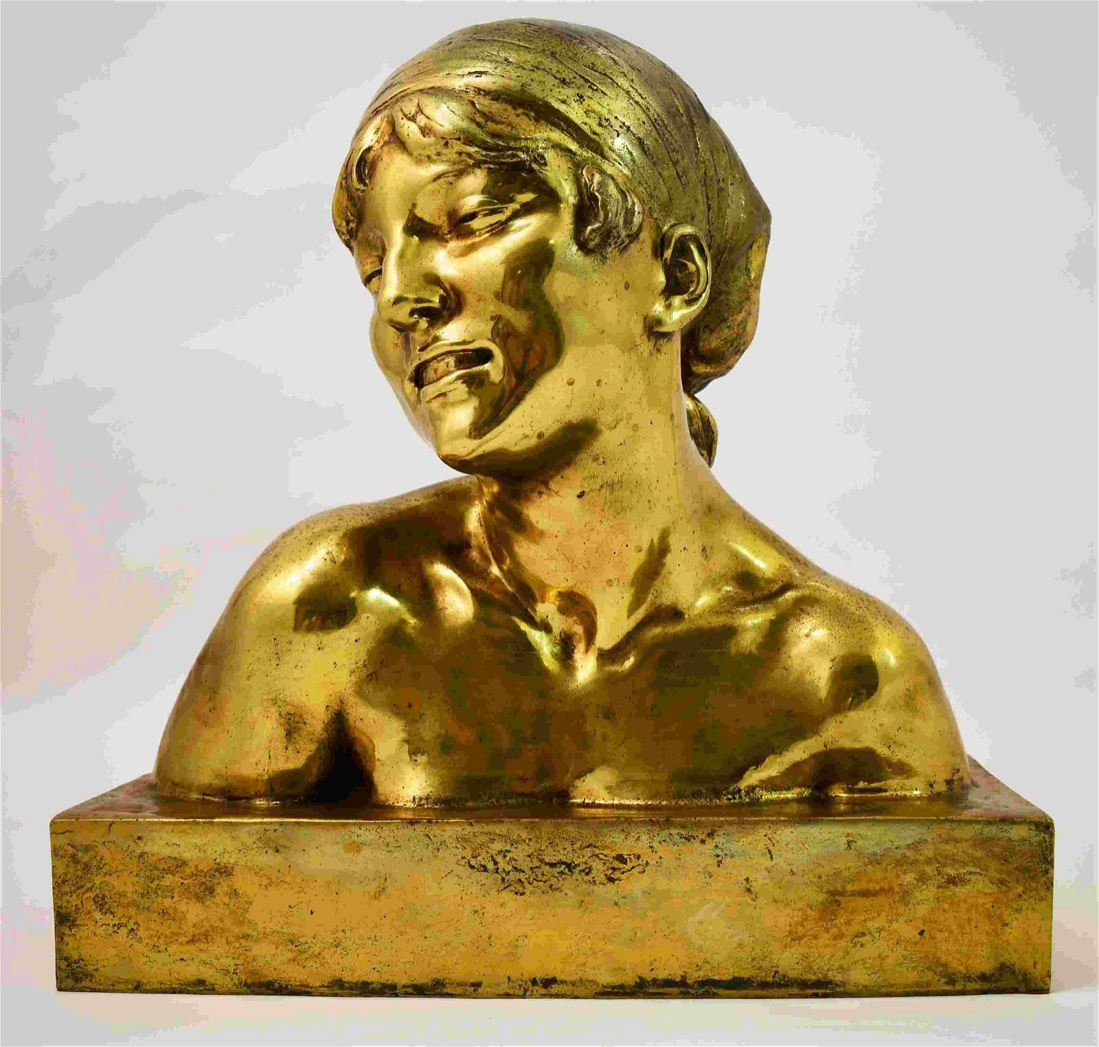 J Ortis (French) Life Size Bronze Bust Young Woman