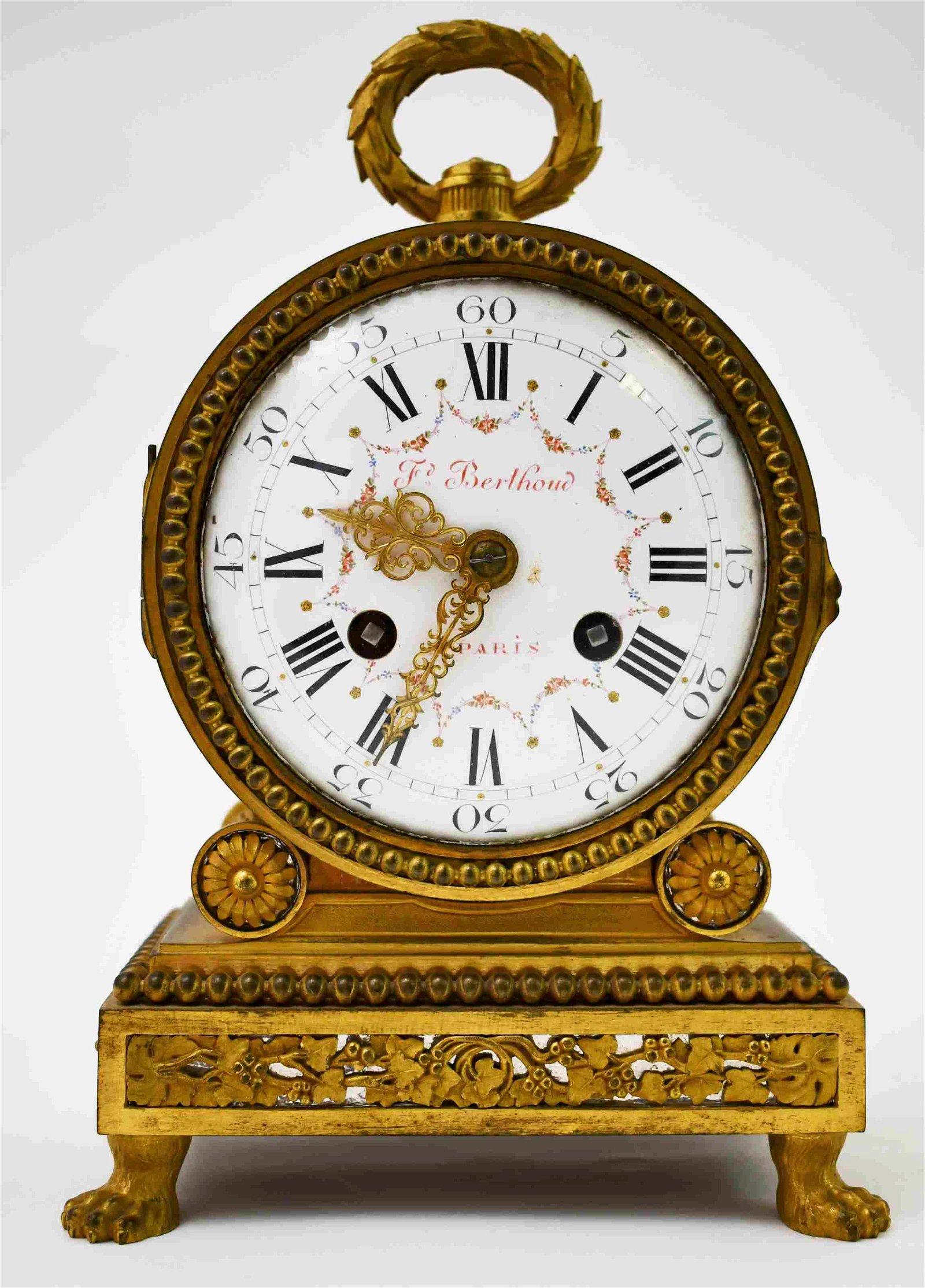 19c Ferdinand Berthoud Dore Bronze Mantle Clock