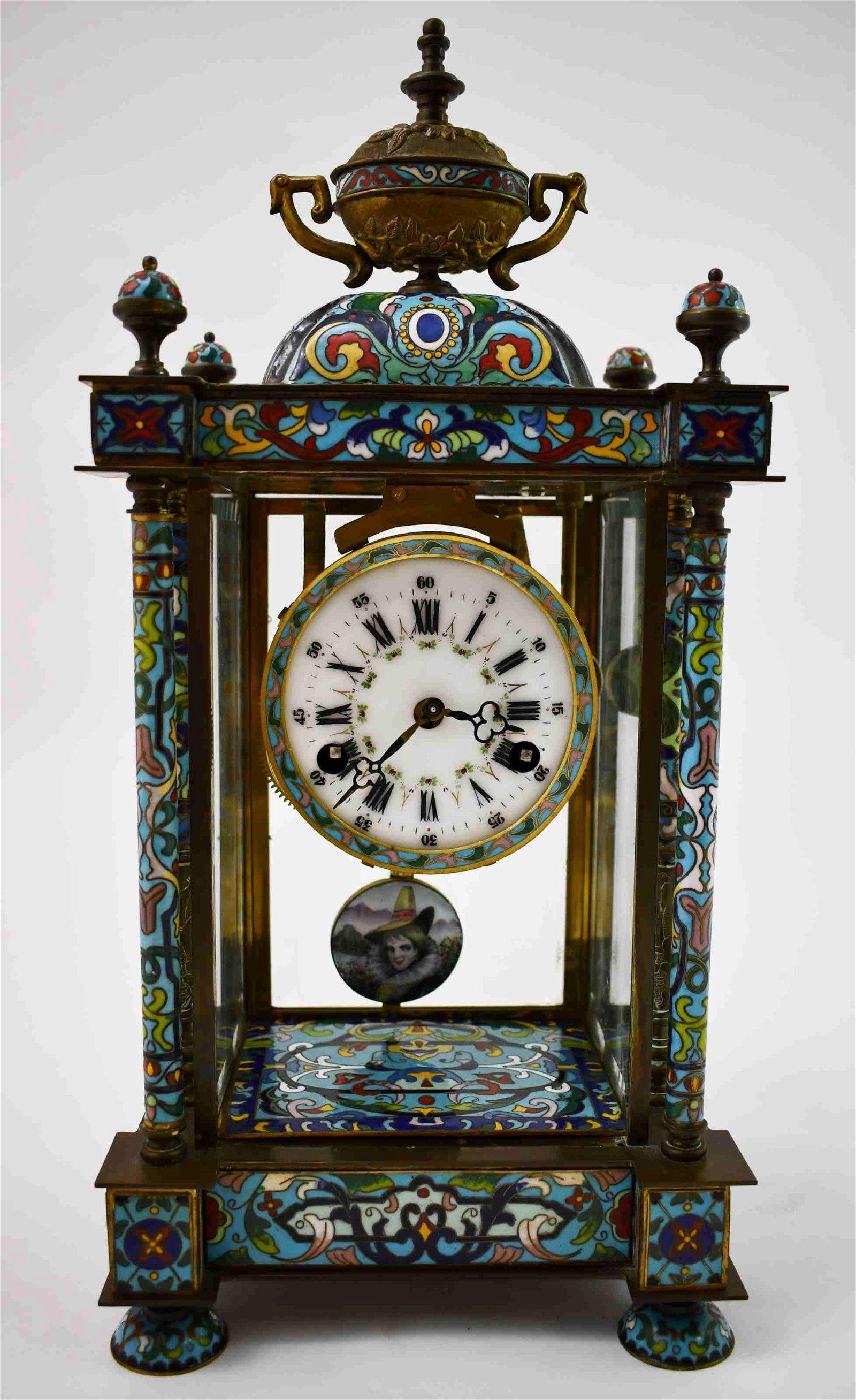 19c French Champleve 8-Day Clock W Enamel Pendulum