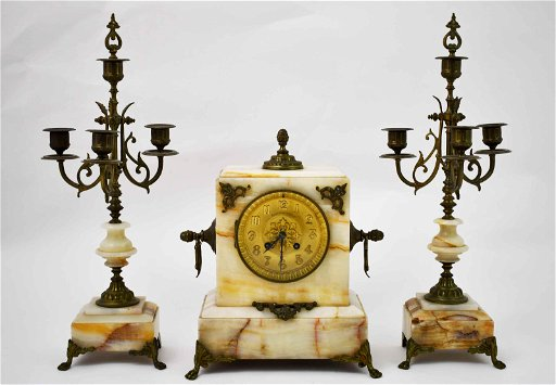 19c Bailey Banks Biddle Marble Clock W Garnishes Nov 10 2019 Neely Auction In Fl