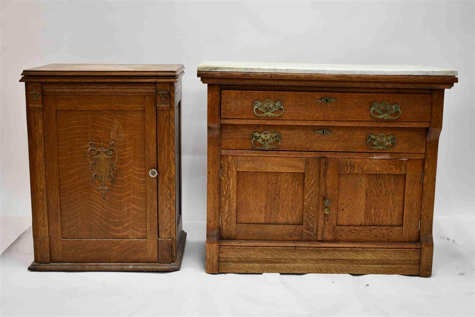 (2)pcs Marble Top Oak Chest & Oak Music Cabinet