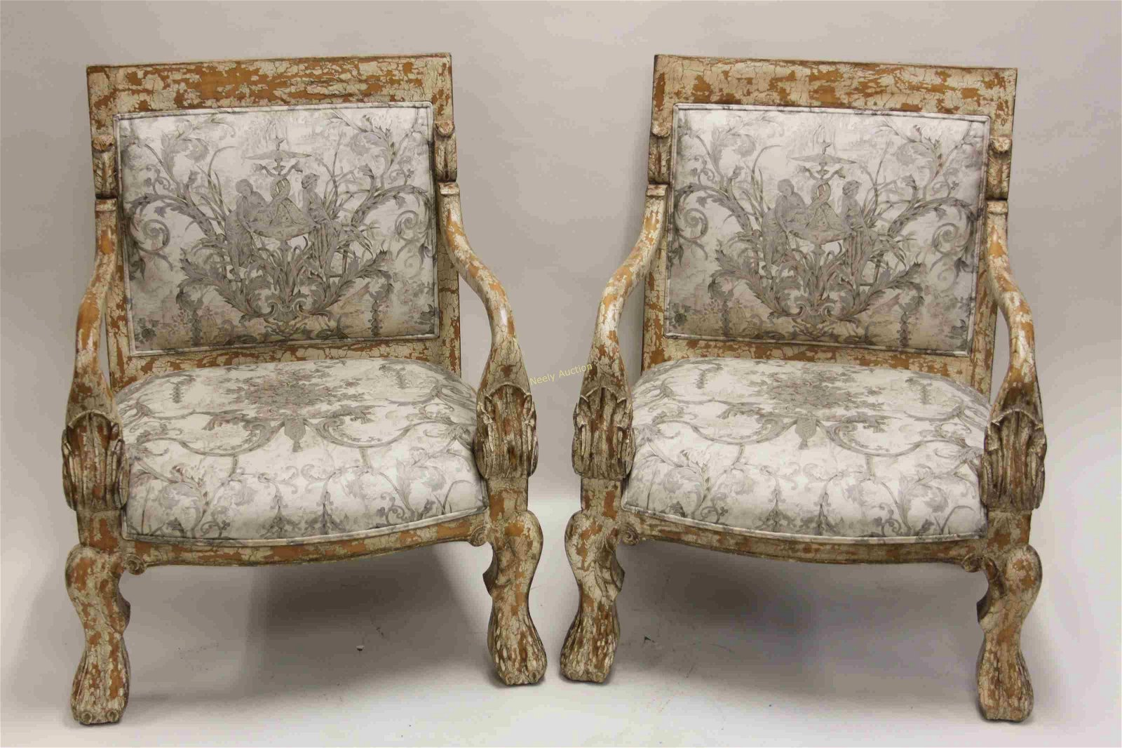 2 Hollywood Regency Antique Finish Brocade Chairs