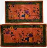 (2) Matching Art Deco Chinese Nichols Throw Rugs