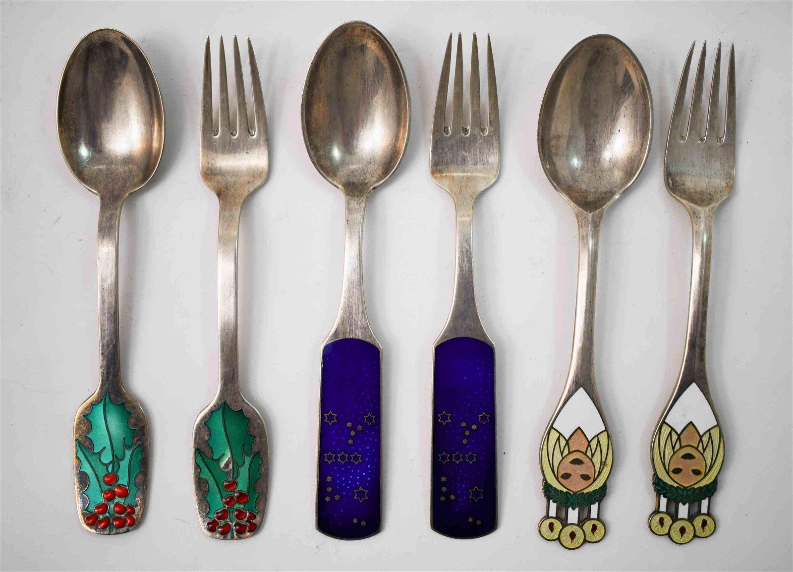 (3)Sets Michelsen Sterling Christmas Spoon & Fork