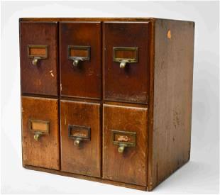 Industrial Maple Desktop File Cabinet w 6-drawers