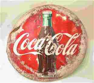"""Vintage 48"""" Button Tin Coca Cola Advertising Sign"""