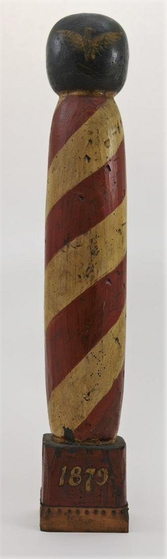 19c Painted Barber Pole w Eagle Dated 1879