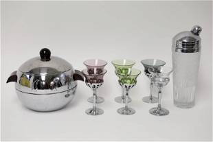Art Deco Chrome & Glass Farberware Barware