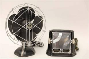 Art Deco Chrome & Bakelite Fan & Toaster