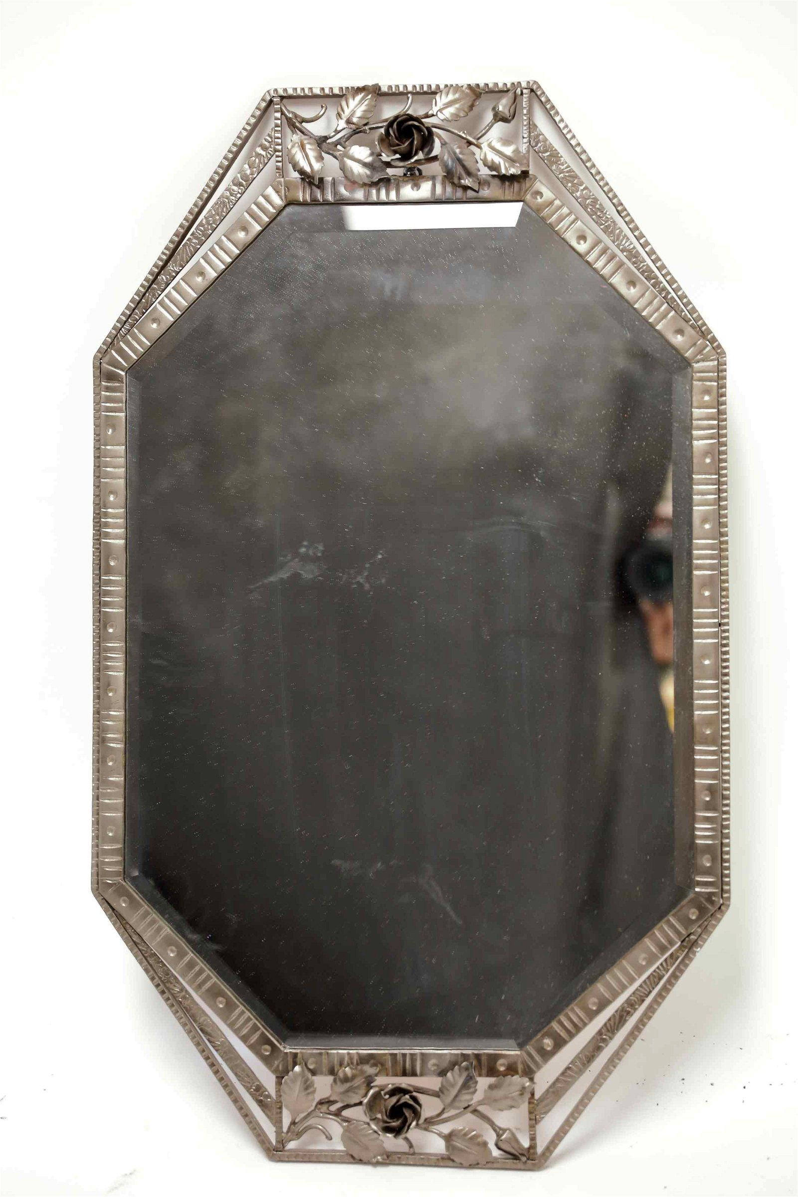 French Art Deco Wrought Iron Wall Mirror