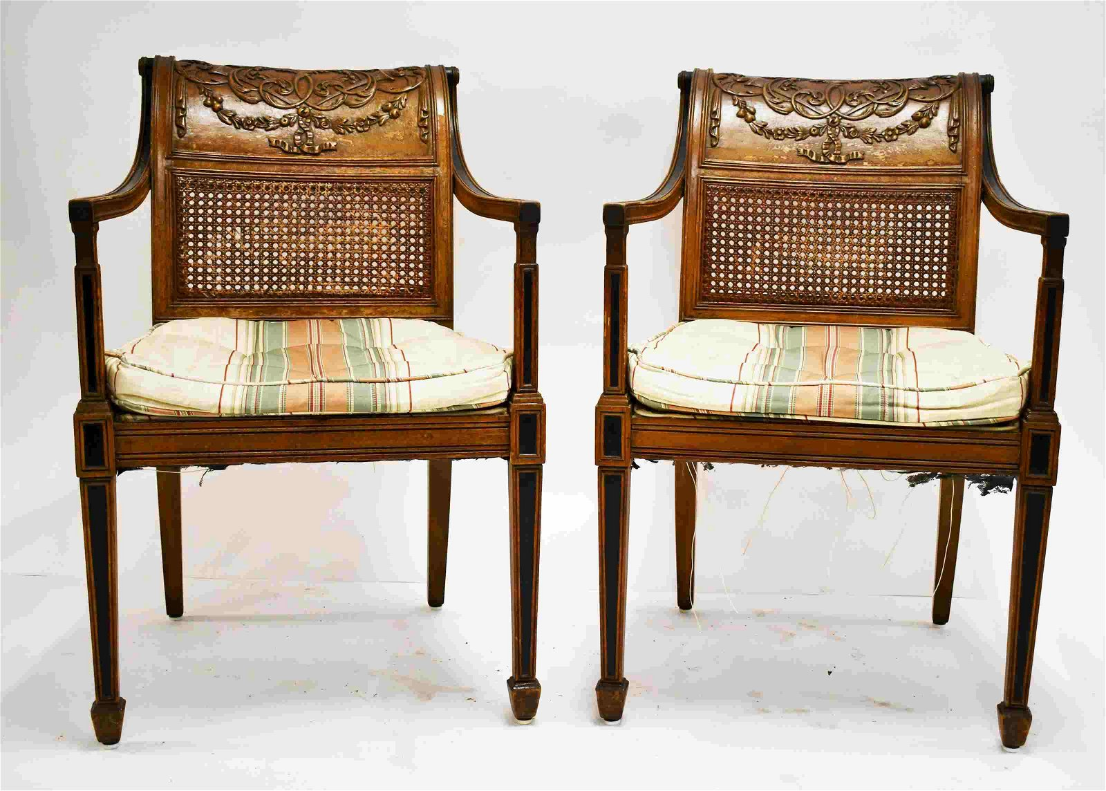 Pair Regency Carved & Scrolled Arm Captains Chairs