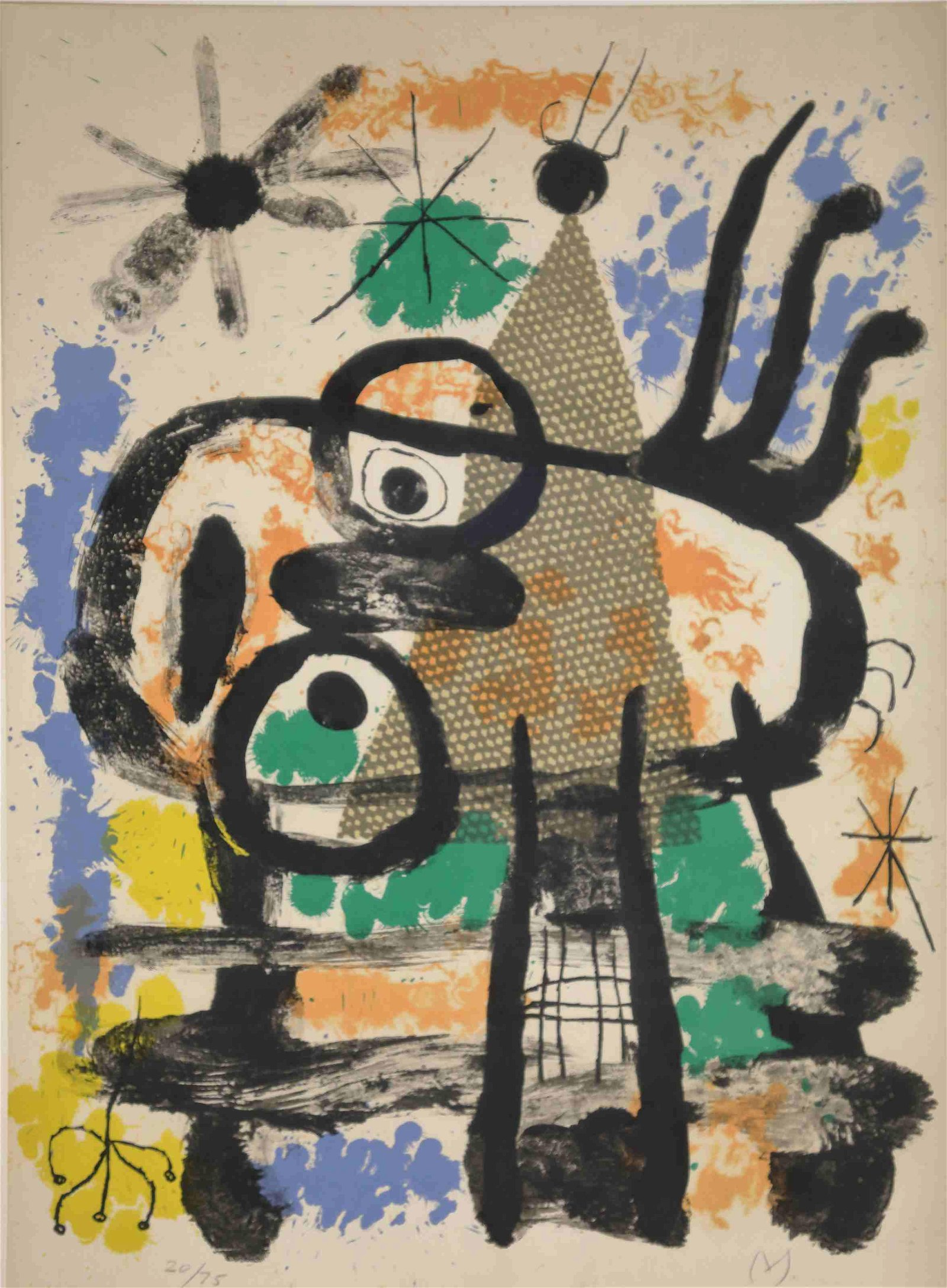 Joan Miro Colored Litho on Arches Paper # 20 / 75