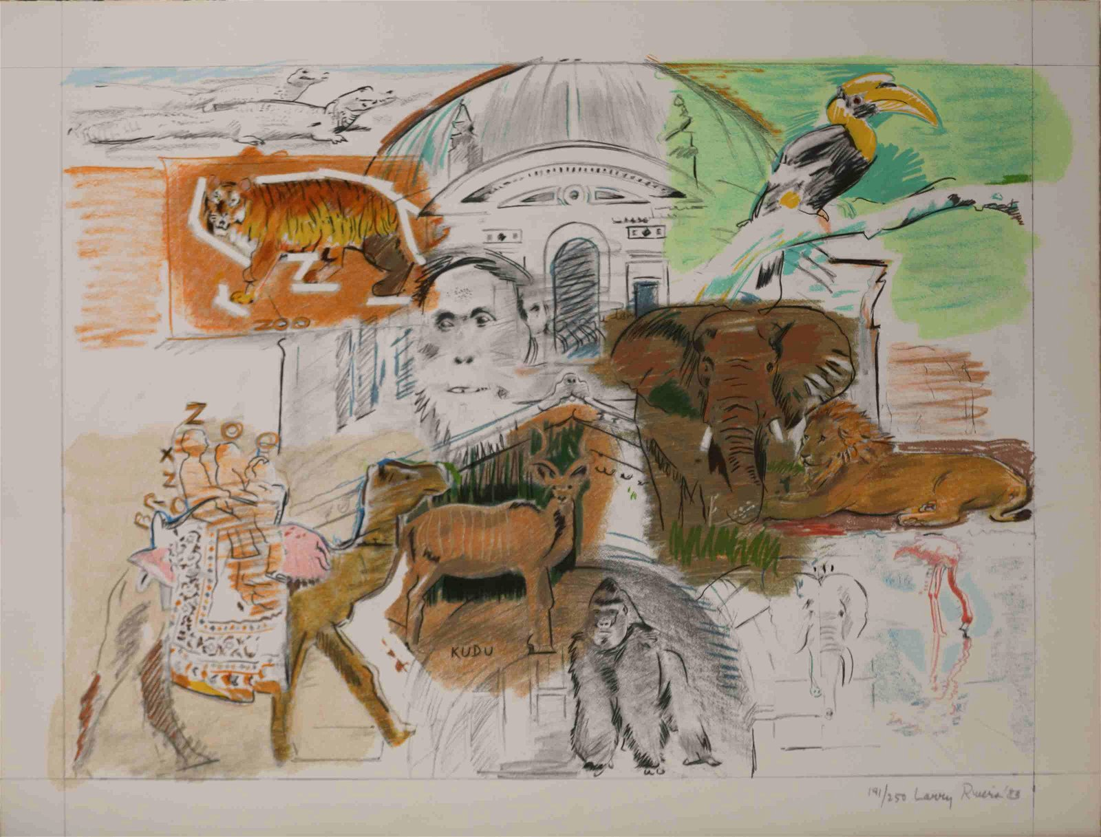 "Larry Rivers ca1983 ""New York - Bronx Zoo"" Litho"