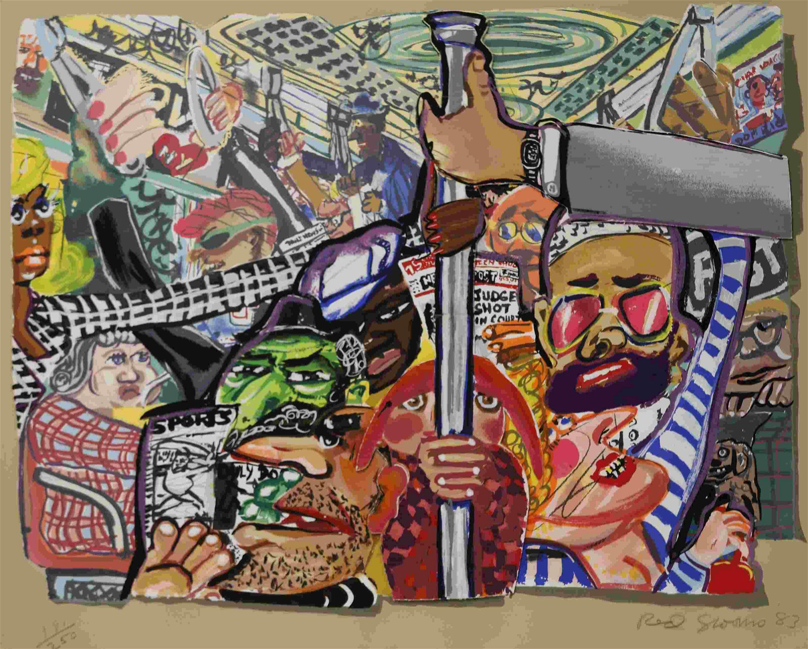 """Red Grooms """"Subway Riders"""" Die-cut Lithograph"""