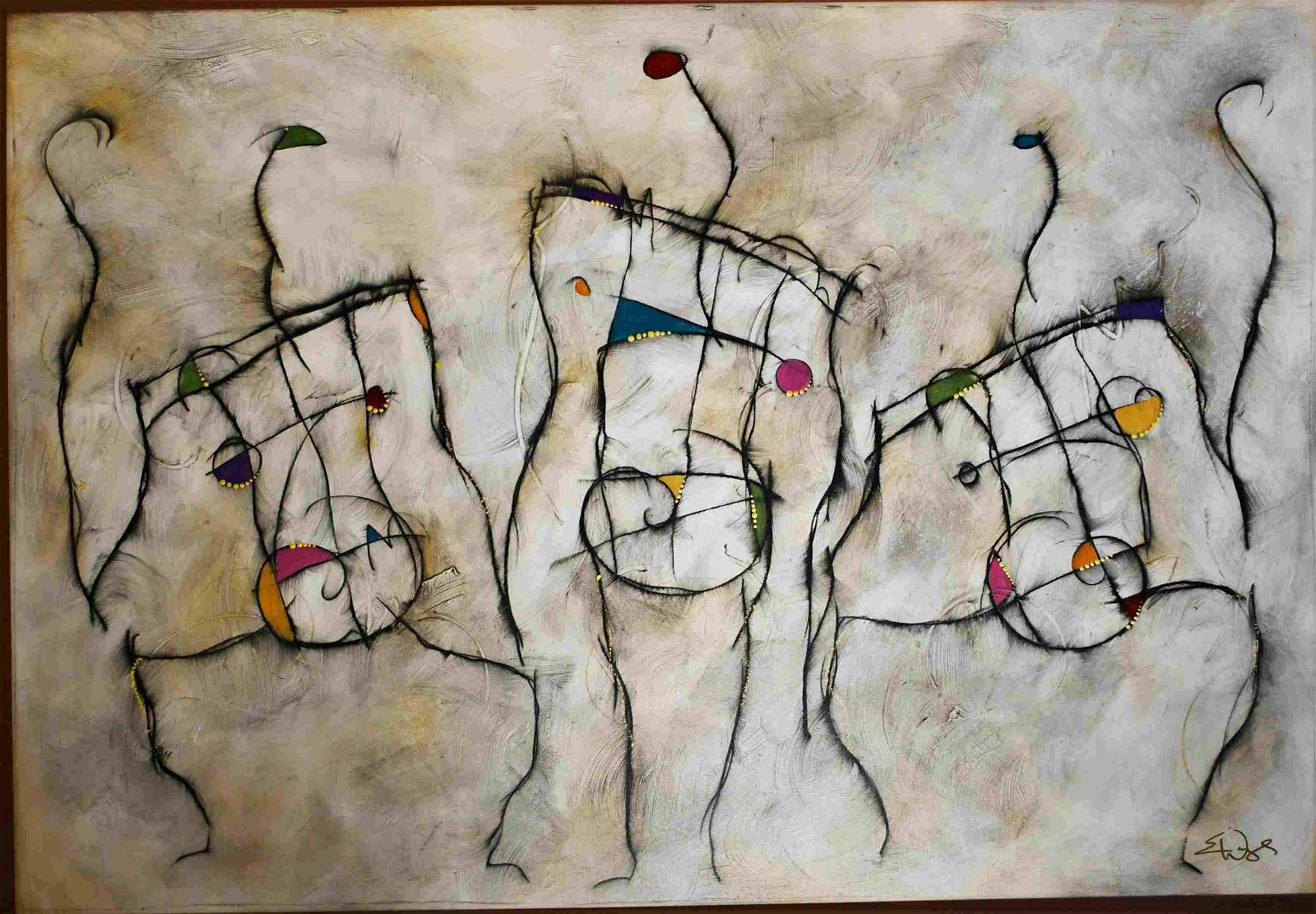 """Eric Waugh Large Painting on Canvas """"Musicians"""""""