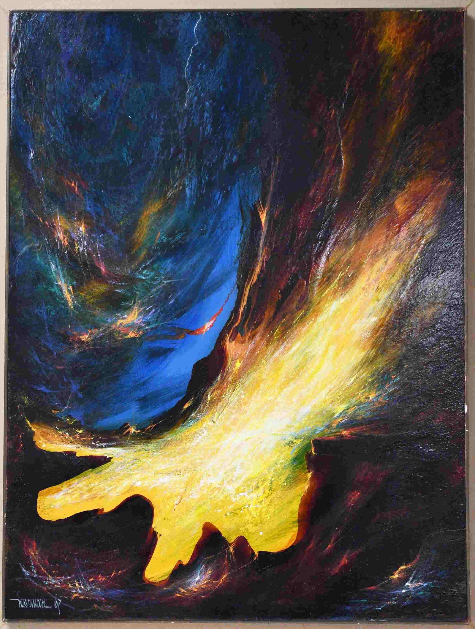 Leonardo Nierman (Mexican b1932) Cosmic Oil Painti