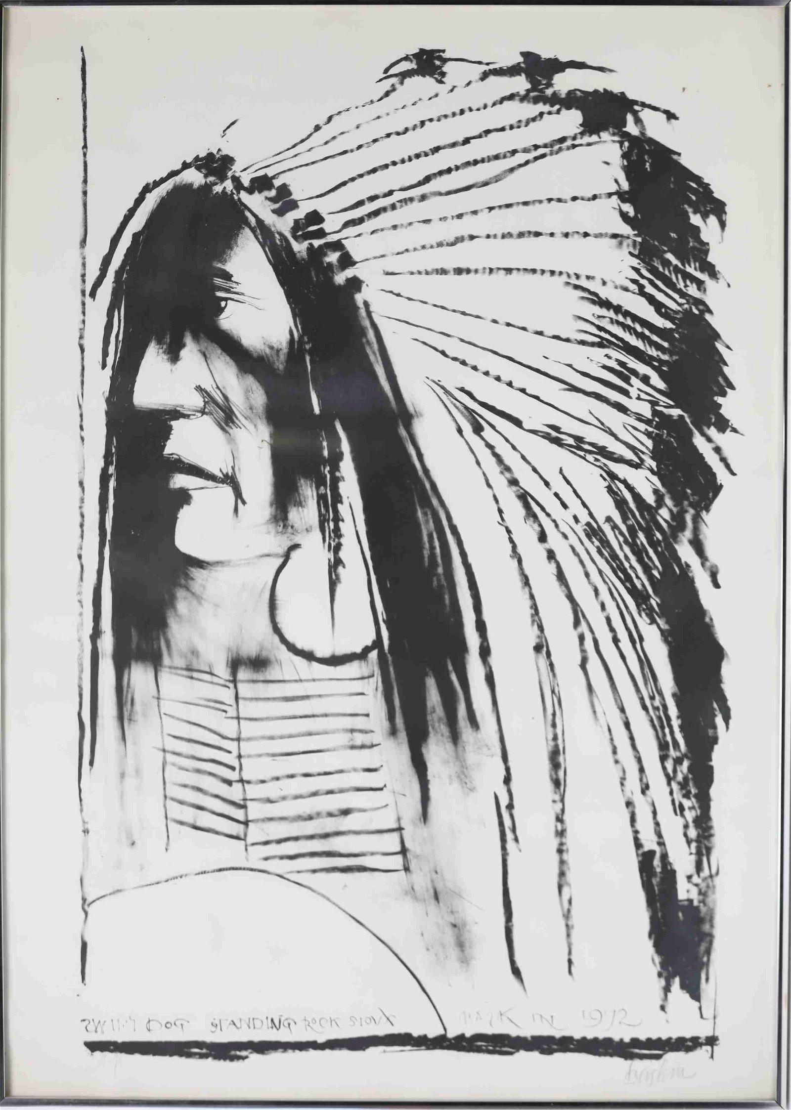 "Leonard Baskin Litho ""Dog Standing Rock Sioux"""