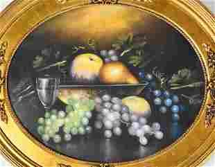 19c Pastel Still Life on Board Grapes Wine Fruit