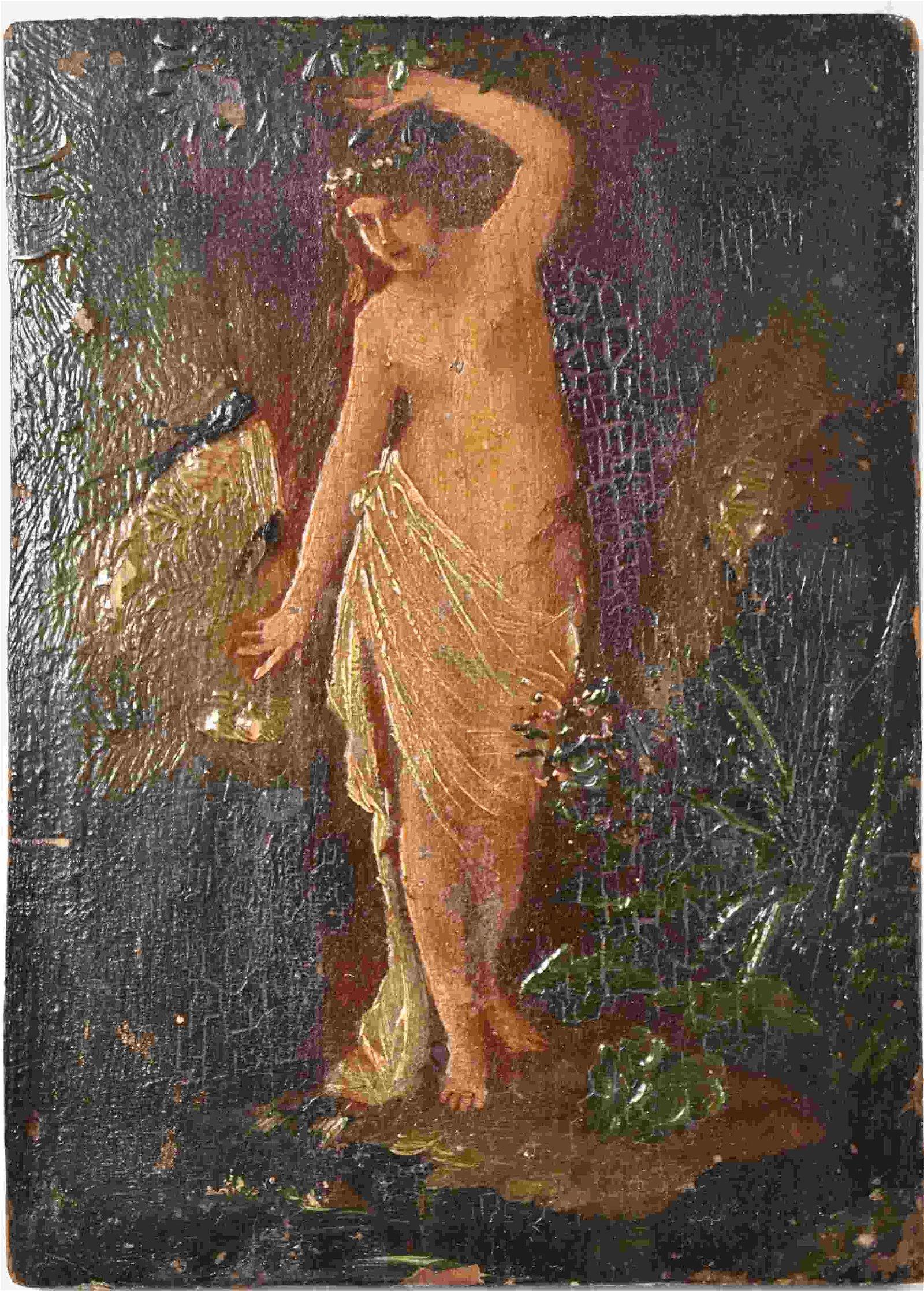 """19c Oil Painting on Wood Panel """"Birth of Venus"""""""