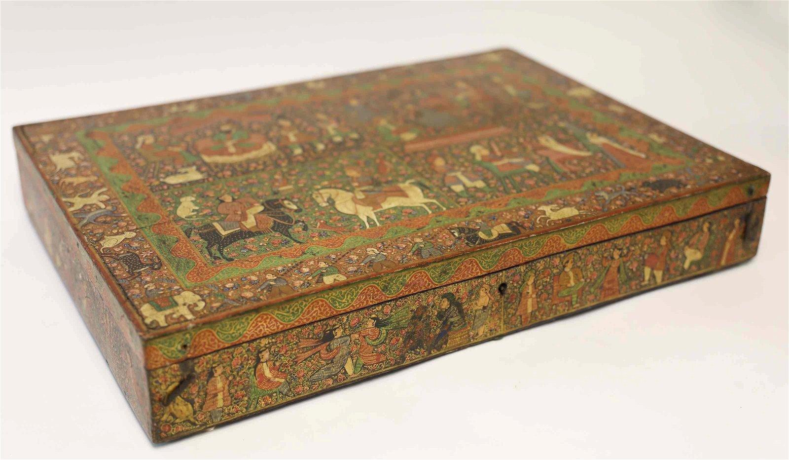 18c Persian Mughal Polychrome Famille & Animal Box