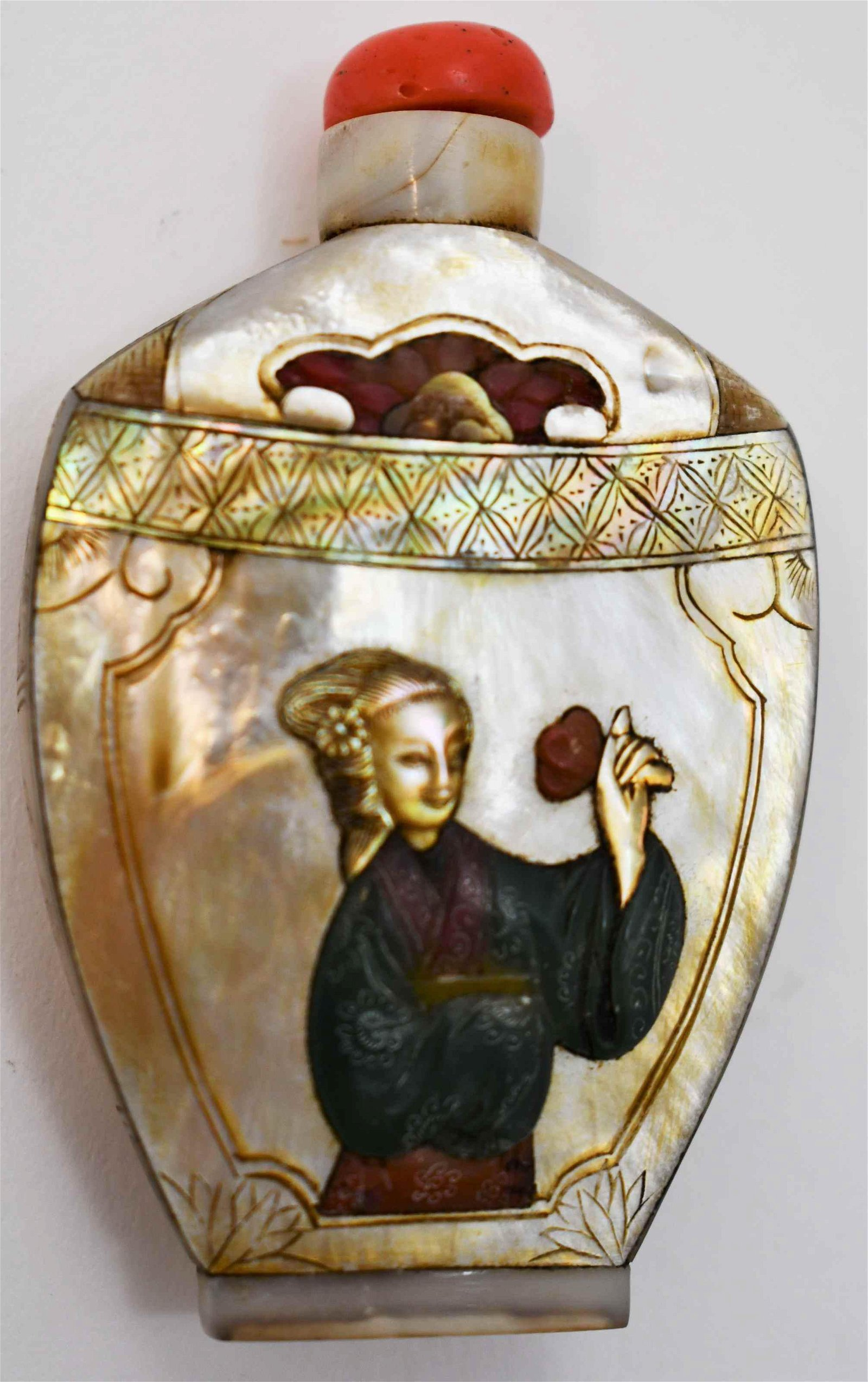 Oriental Snuff Bottle Mother of Pearl Jade & Coral