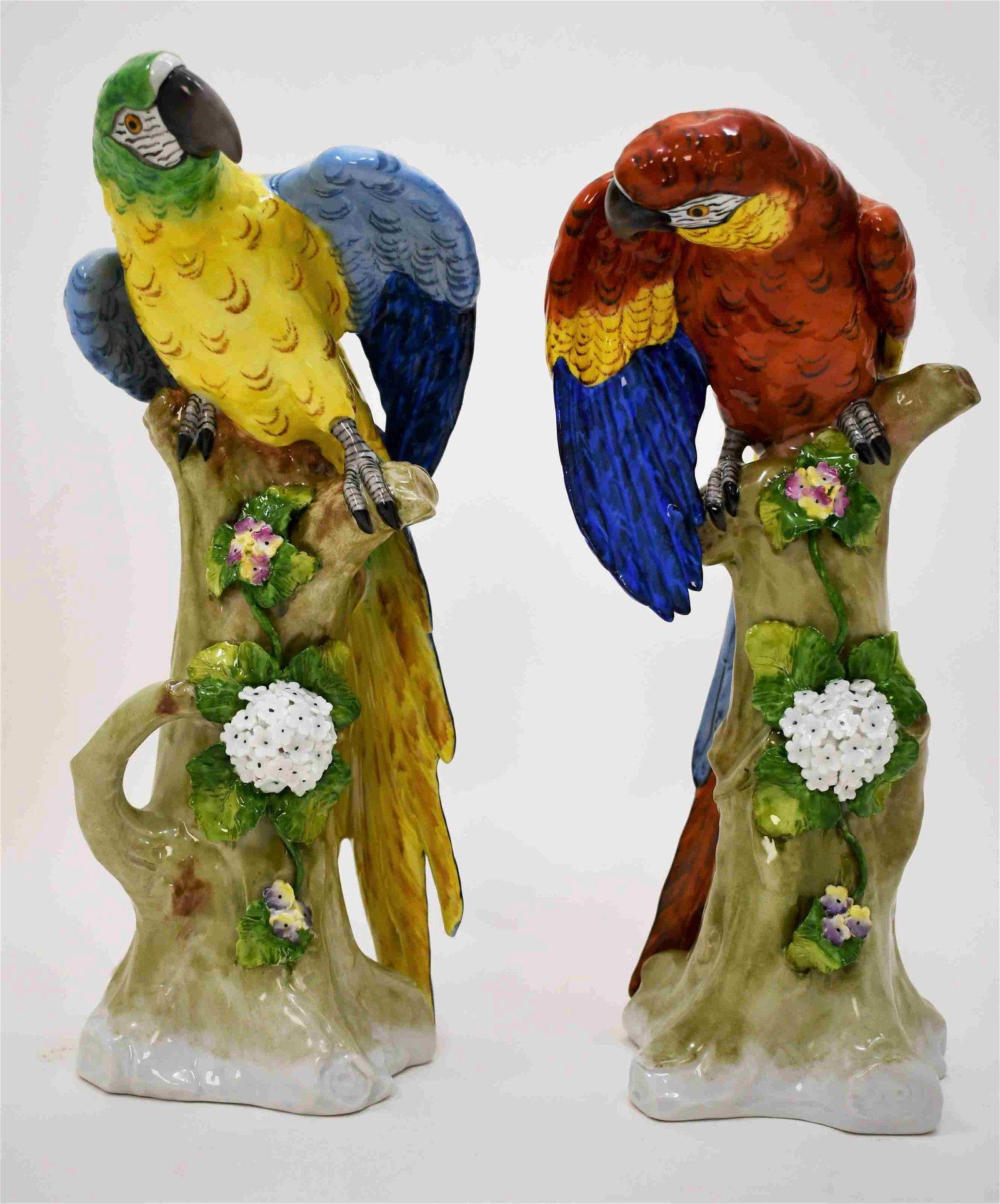 (2) Large 19c Dresden Sitzendorf Porcelain Parrots