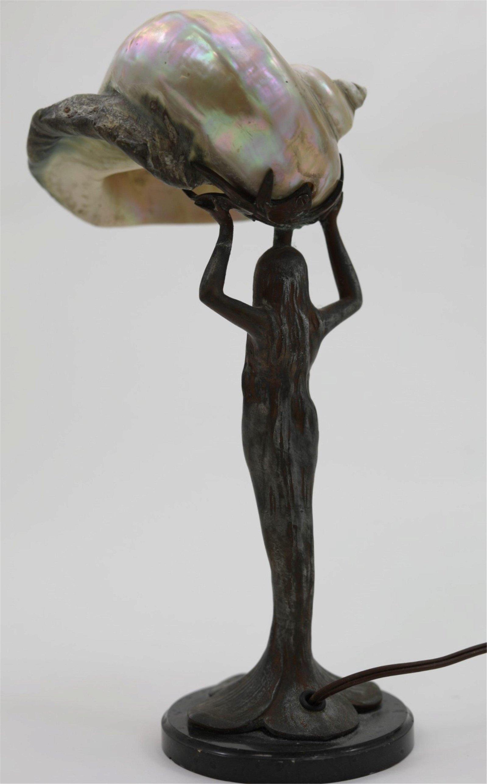 Art Nouveau Sea Shell & Female Form Desk Lamp