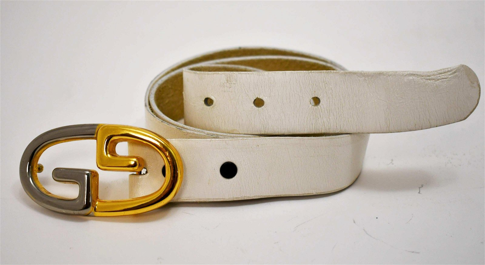 Vintage Gucci Chrome Gold Buckle w Leather Belt