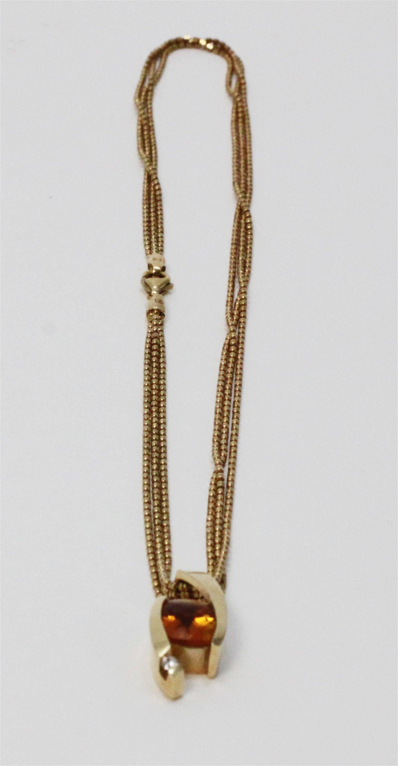 Cushion Cut Orange Sapphire & 14k Gold Pendant