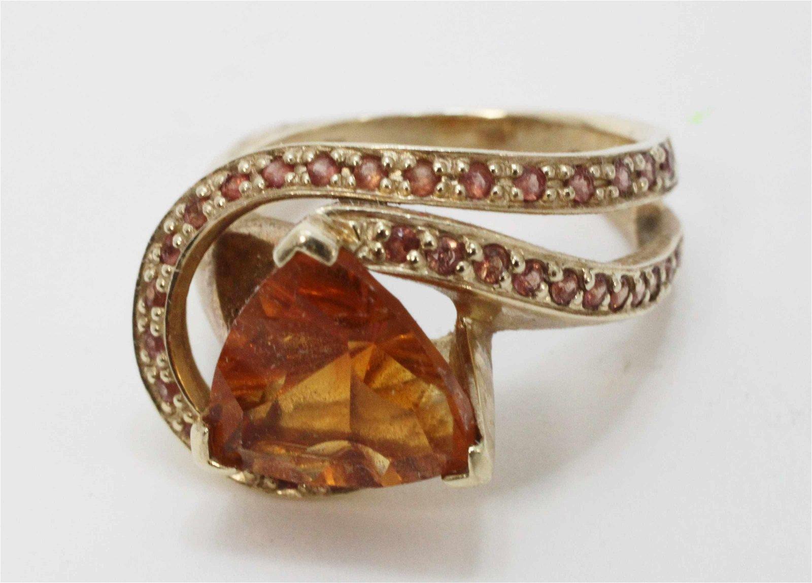 Vintage Orange Sapphire & 14k Gold Cocktail Ring