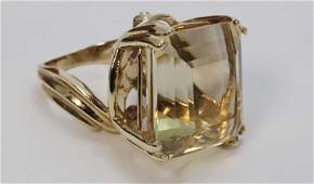 Large Emerald Cut Citrine & 14k Gold Cocktail Ring