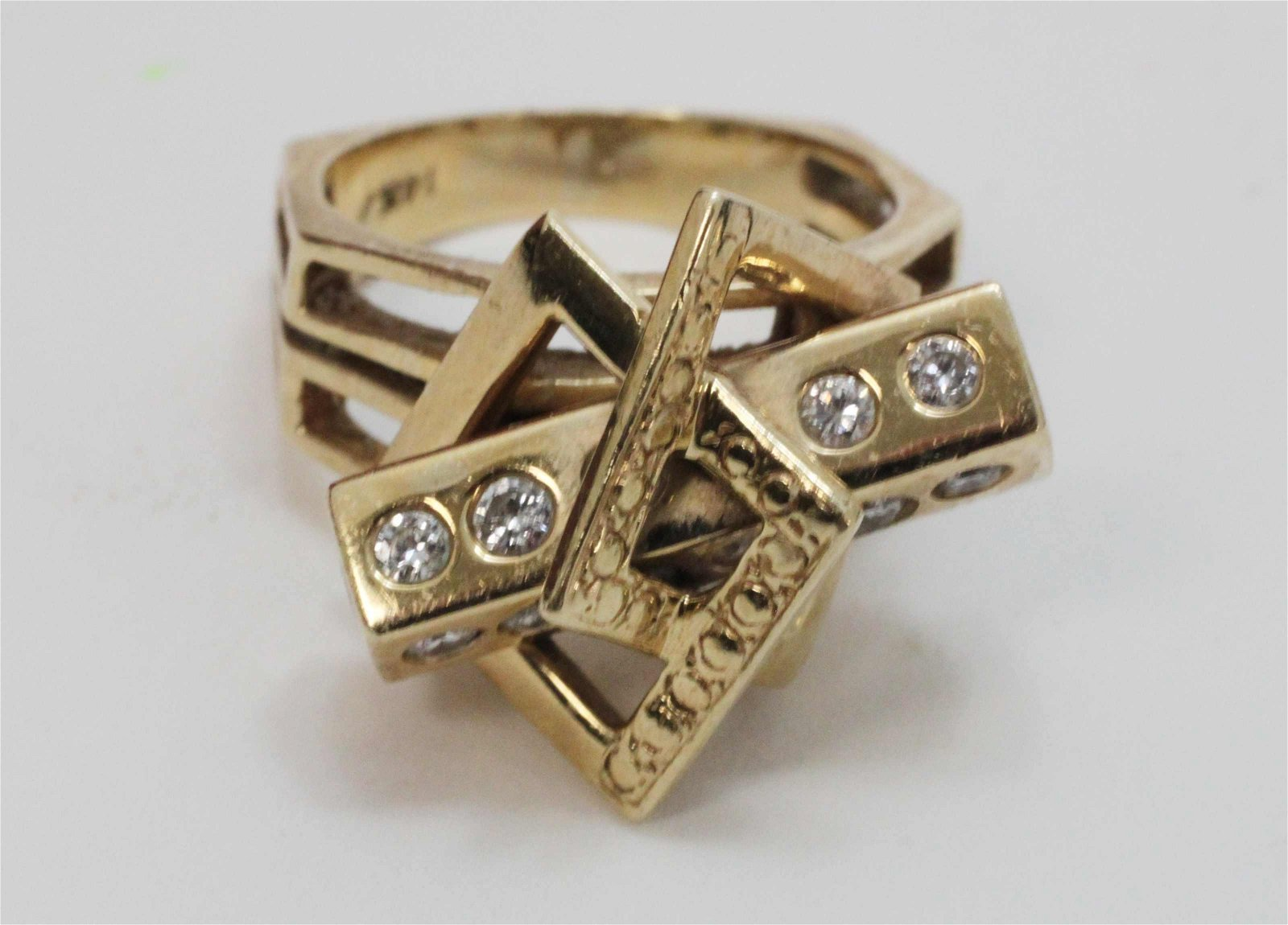 Vintage 14k Gold Diamond Geometric Space Age Ring