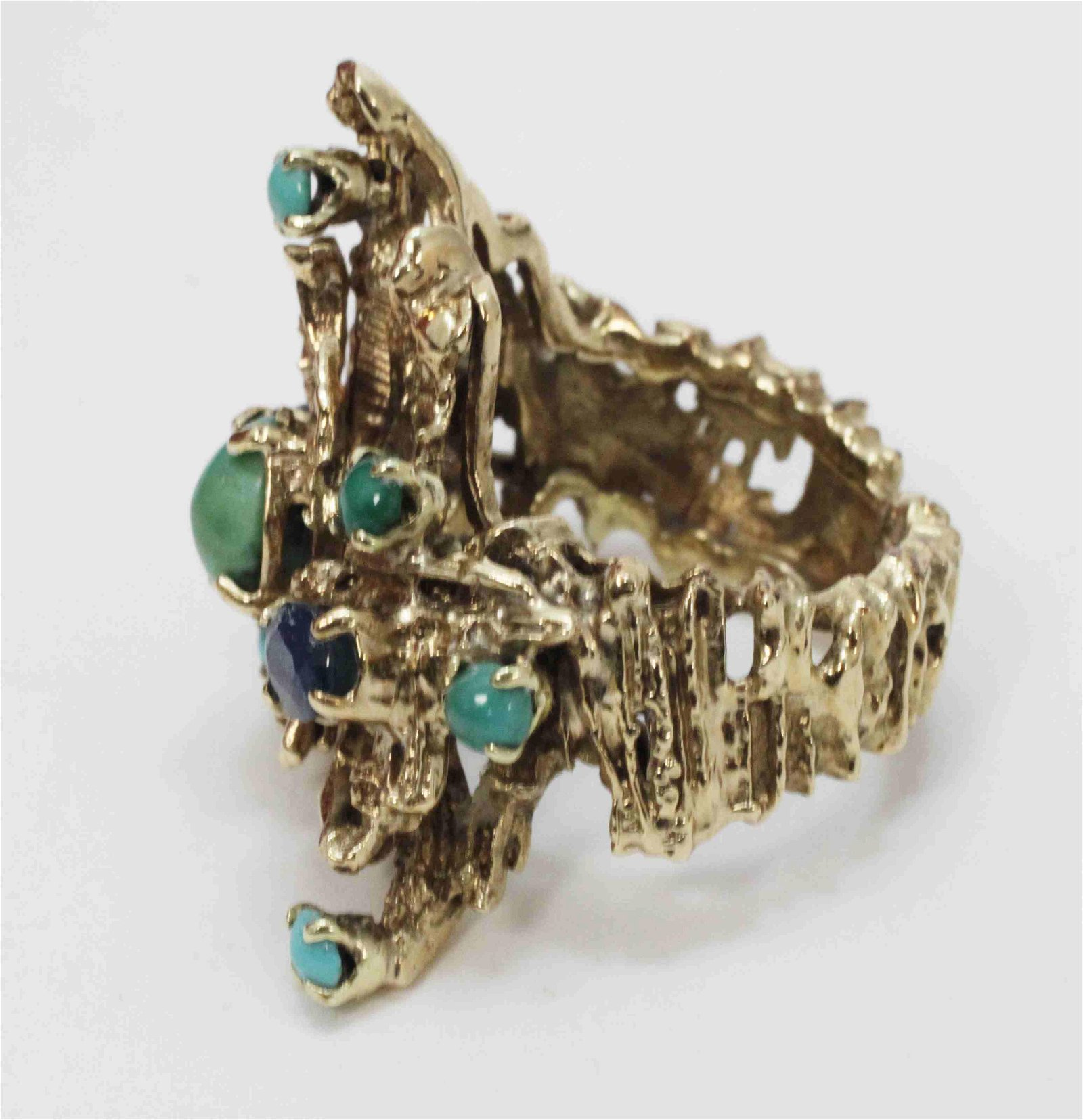 70's Brutalist 14k Gold Turquoise & Sapphire Ring