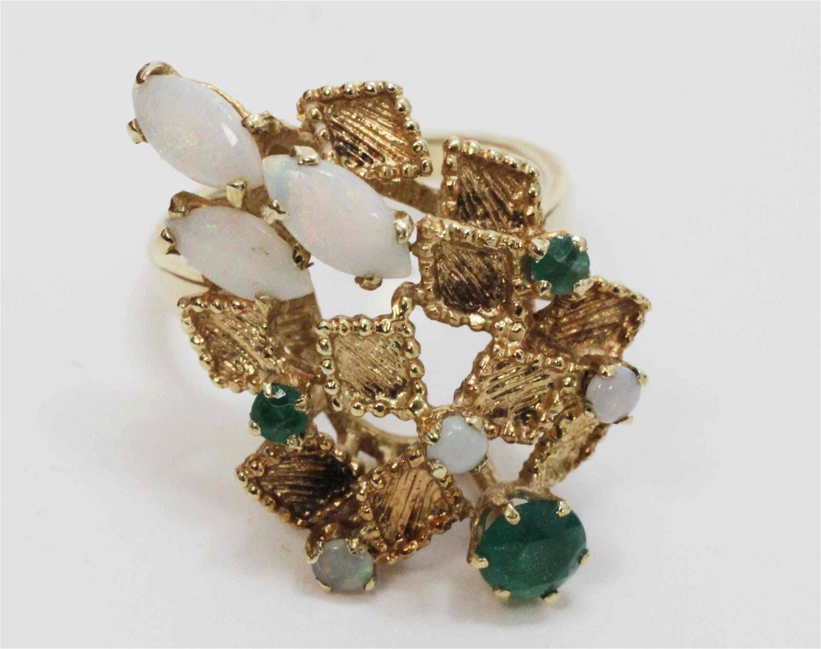 70s 14k Gold Harlequin Ring Set w Opals & Emeralds