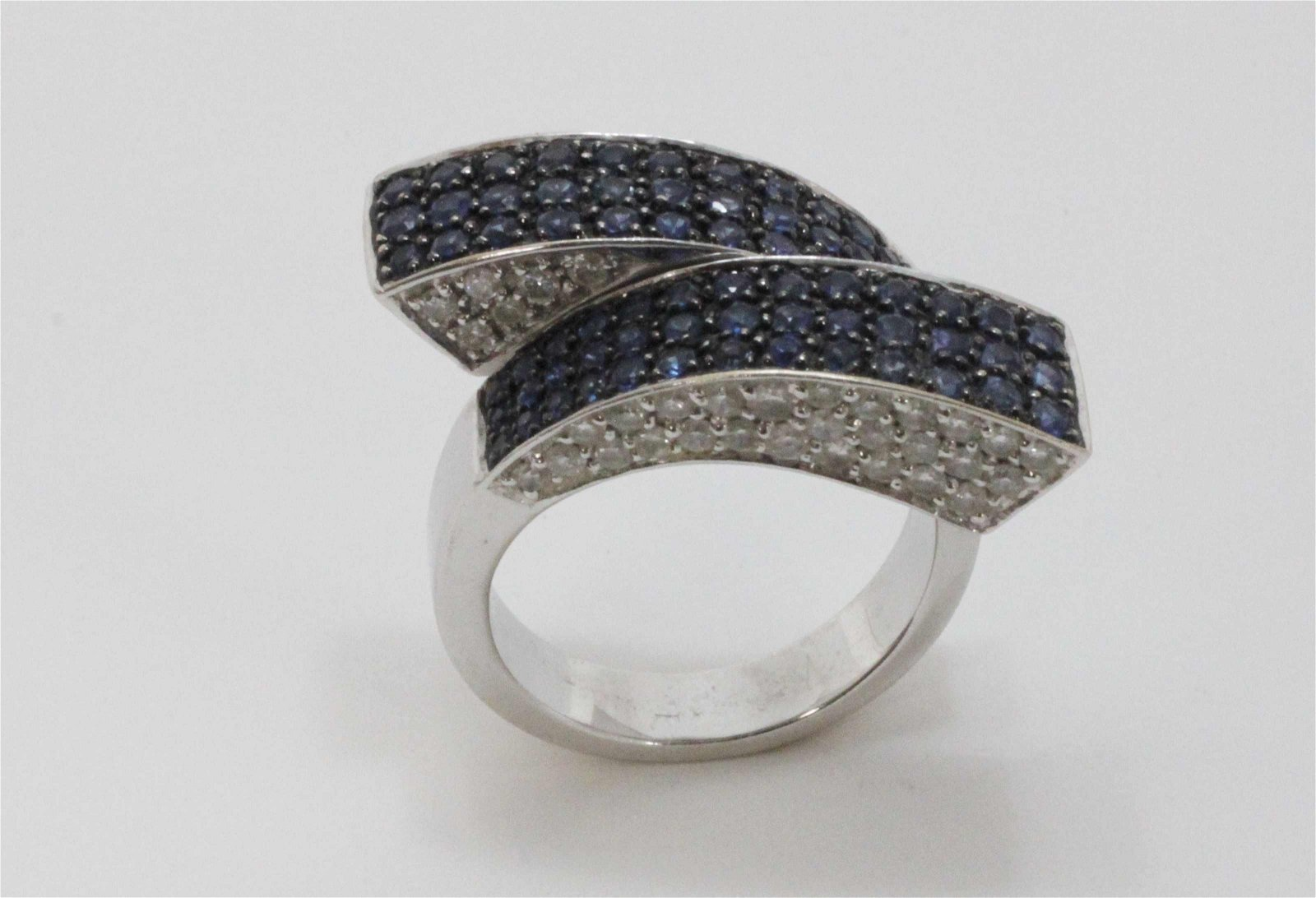 18k Gold Sapphire & Diamond Paved Geometric Ring