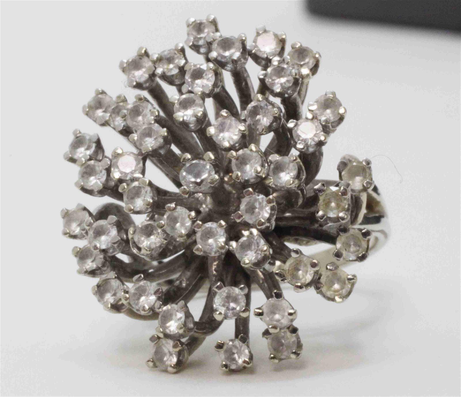 14k White Gold & Diamond Snowflake Evening Ring