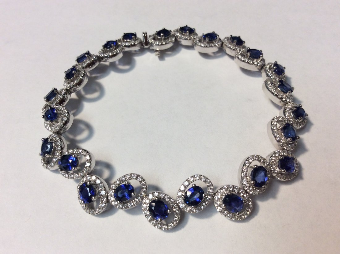 18k Gold Bracelet w Ceylon Sapphires & Diamonds