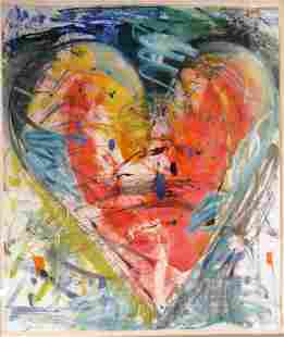 "Jim Dine (USA b1935) Monotype ""Heart"" ca1983"