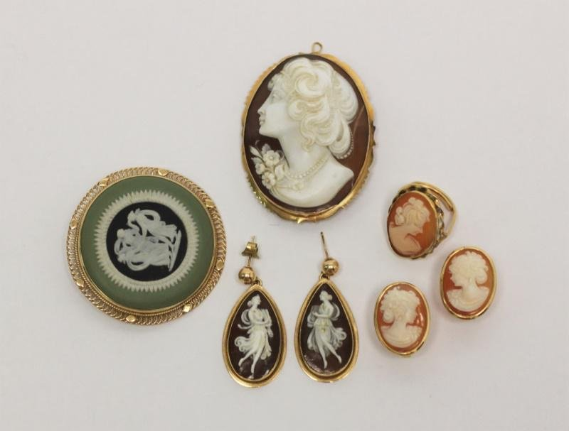 (5) Pc Gold Cameo Jewelry Lot: Earrings,Pins, Ring