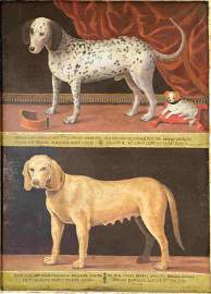 17c Painting Two Dogs w Pedigree & Pup dated 1671