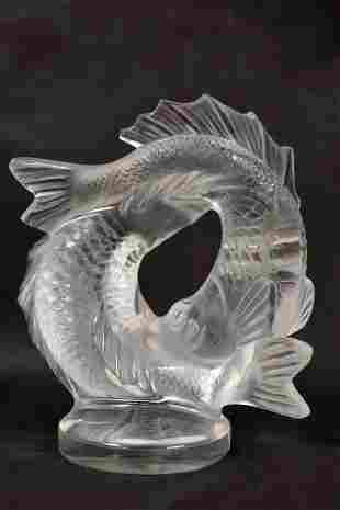"""Lalique Crystal """"Deux Poissons"""" Two Fish Sculpture"""