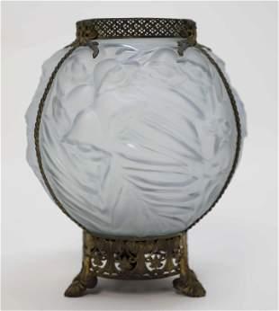 Phoenix Glass Rose Vase Footed w Gilt Brass Mounts