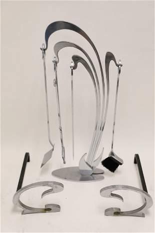Art Nouveau style Chrome Steel Fire Dogs & Tools
