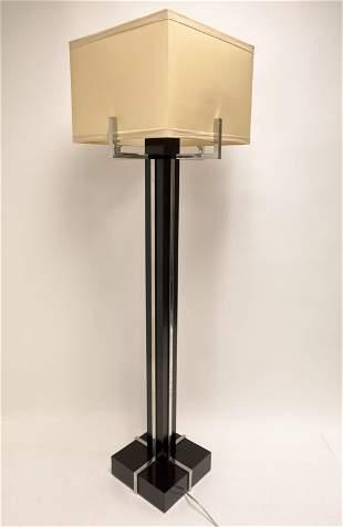 MCM Chrome & Wood Floor Lamp