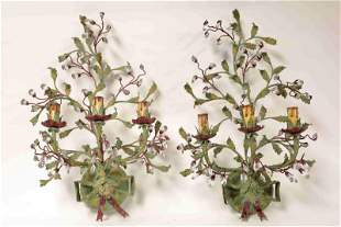 Pr Italian Floral Painted Iron & Crystal Sconces