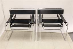 """(2)Marcel Breuer """"Wassily"""" Leather & Chrome Chairs"""