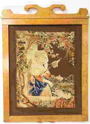 Antique Tapestry Woman Spinning Yarn w Kitten