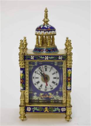 French Champleve Clock w Chinese Porcelain Panels