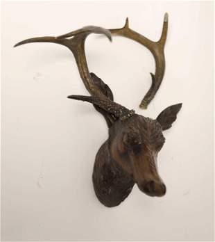 19c Black Forest Carved Walnut Deer Head w Antlers