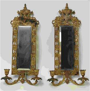 Pr Bradley & Hubbard Brass Sconce Mirror Lusters